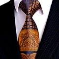 Multicolor Oro Marrón Amarillo Azul Marino Floral Para Hombre Corbatas Corbatas 100% Seda Jacquard Tejida Manera Del Envío Libre Al Por Mayor