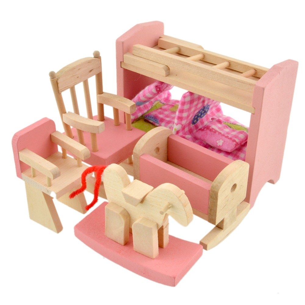 Wooden Doll Bunk Bed Set Furniture Dollhouse Miniature For Kids Child Educational Toy Pretend