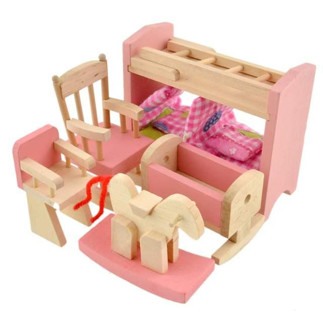 Online Shop Wooden Doll Bunk Bed Set Furniture Dollhouse Miniature