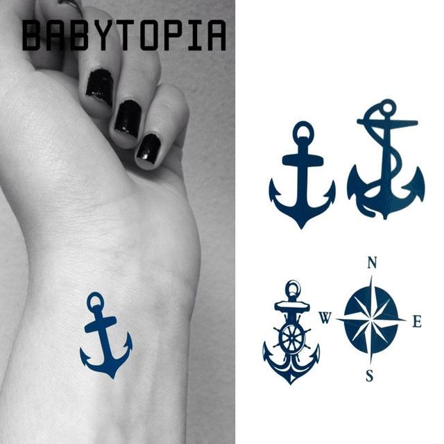 Babytopia 1 Sztuk Kotwica Kompas Flash Tatuaż Tymczasowy Tatuaż