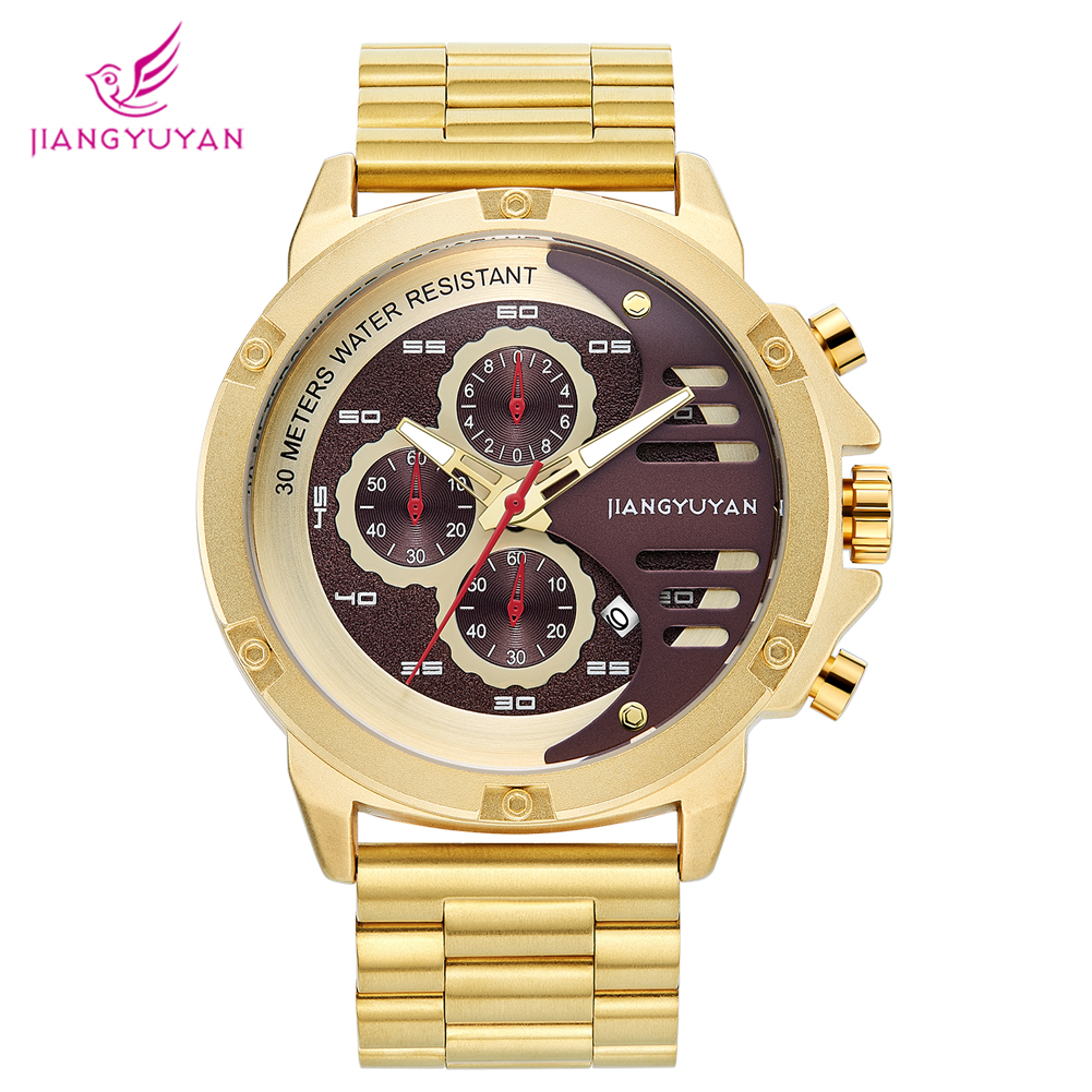 mens watches  luxury watch  casual dress business pointer number double display calendar classy gold clock 1635mens watches  luxury watch  casual dress business pointer number double display calendar classy gold clock 1635