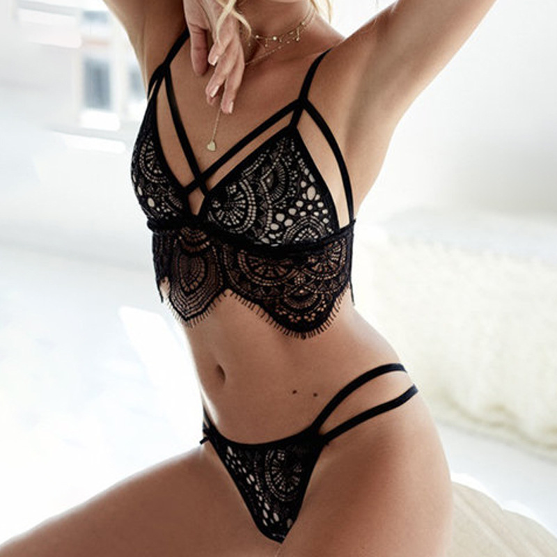 Black Lace Sexy   Bra     Sets   Women Lingerie Hollow Out Underwear   Set   Lace Up   Bras     Brief     Set   for Women Female