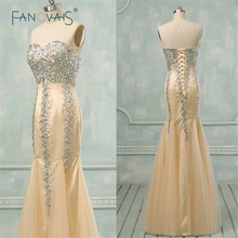 Long Women Elegant Crystal Beaded Strapless Evening Eresses Beaded Party Gowns Formal Party Dresses SW-11