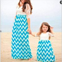 925ab084951667 Mother Daughter Dresses Lace Family Clothing Mom Daughter Dress Beach Wear  Summer Style Girls Women Cotton