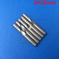 Free Shipping 5 Pcs Carbide Endmill Single Flutes Spiral CNC Router Bits 6mm 22mm