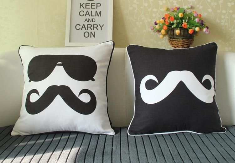 5 Styles Moustache Cushion Covers Sunglass Soft Pillow