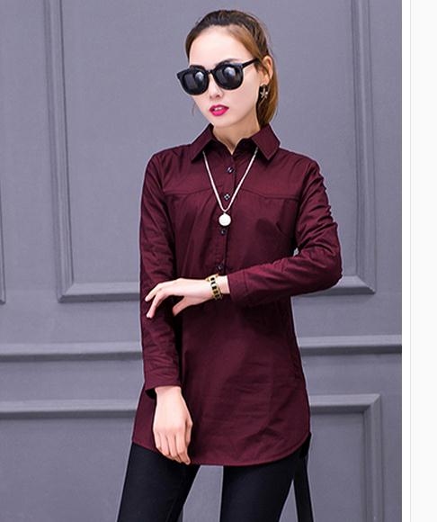 Edition Of Spring Clothing Green burgundy white The Long army Black New Korean pink In Shirts Women's 2017 dgIwgcfq