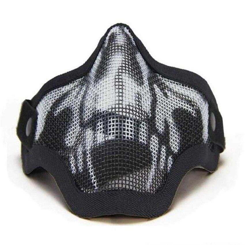 Bunte Maske Hälfte Niedriger Gesicht Metall Stahl Net Mesh Mask Jagd Tactical Schutz Airsoft Halloween Partei Halbe Gesichtsmaske M25