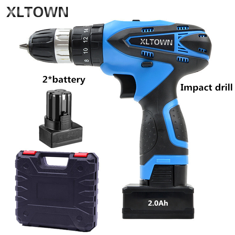 XLTOWN 25V 2000mA Impact Drill Rechargeable Lithium Battery Electric Screwdriver Cordless Electric Drill Power tools xltown 25v 2000ma impact drill with bits