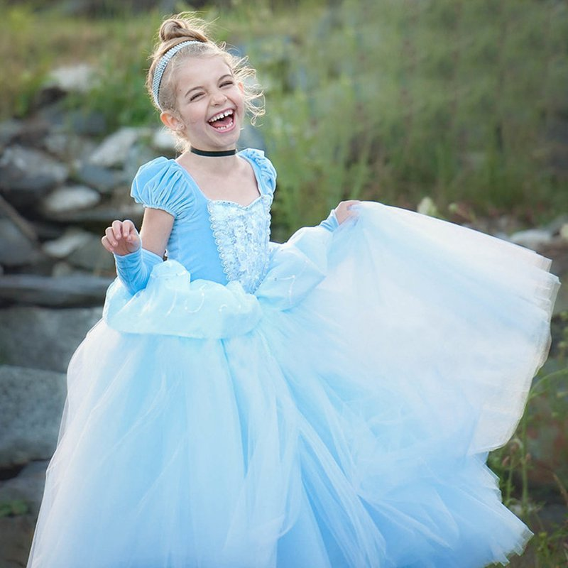 VOGUEON Little Girls Princess Cinderella Dress up 7 Layers Embroidery Deluxe Kids Birthday Party Cosplay Costume Halloween Ball цена