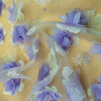 1meter New 3D Flower Chiffon Organza 130cm Glass Net Yarn Applique Lace Fabric Dress Fashion Diy