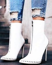 River Solid Ankle Boots Pointed Toe Zip Woman Popular Short High Heel Runway  Street T-stage Night Club Shoes
