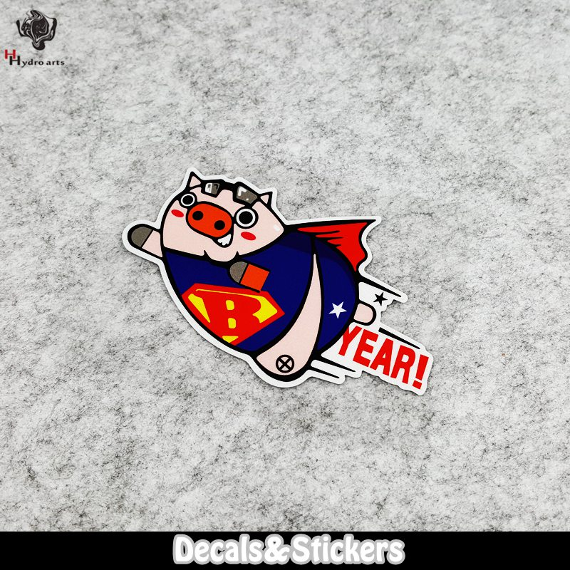 NO.LN012 Cartoon Cute Flying Pig Car Sticker MOTO GP Reflective Stickers Decals Racing S ...