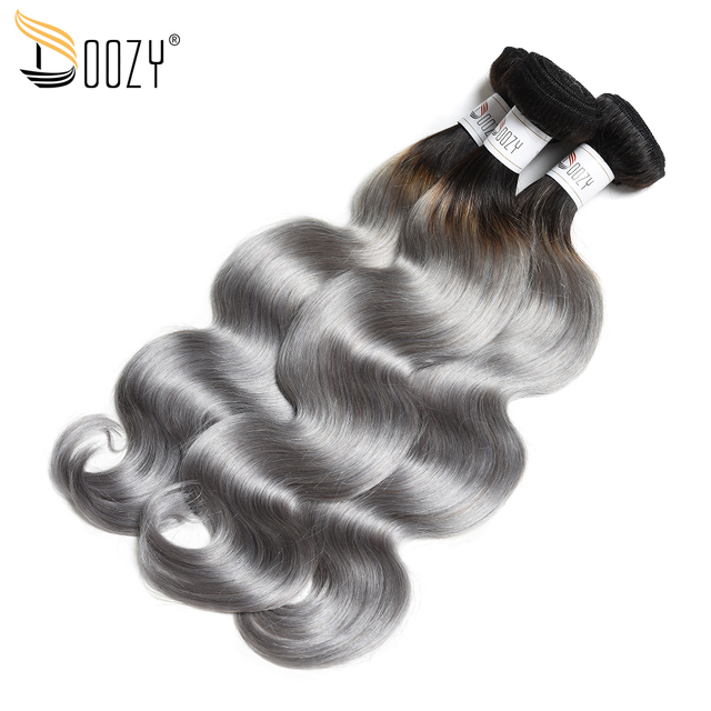 Doozy Ombre 1bgrey Human Hair Weave 3 Bundles Double Weft Hair