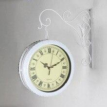 Double sided Wrought Iron Wall Clock Modern Design Watch Saat Wall Clocks Relogio de Parede Reloj