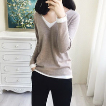 LHZSYY Spring Autumn New Womens V-Neck Cashmere sweater Fashion Stitching Bottoming Shirt Knit Pullover Wool Wild Warm Sweater