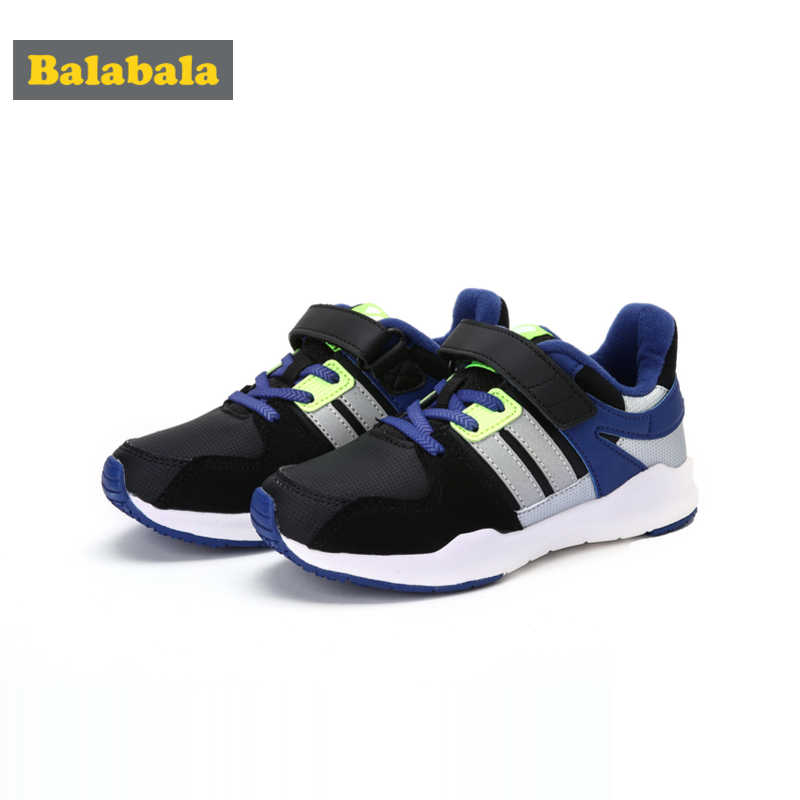 Balabala Boys Fleece-Lined Sneakers with Hook-and-loop Strap Kids Toddler Boy Casual Sneakers with Reflective Tab