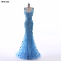 Luxury sequins pearls heavily beaded blue mermaid evening dresses on sale 2017 with belt CloverBridal high quality gown