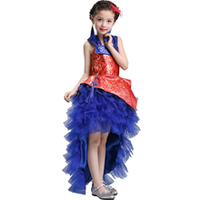High-grade Chinese Cheongsam Princess Dress Kids 2017 New Girl Trailing Qipao Red Birthday Party Dresses Stage Performance