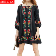 Free shipping 2016 autumn fashion women high quality Bohemian Cross embroidered fringed lace nine points lantern sleeve dress