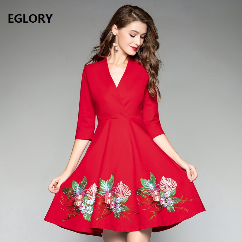 Nouveau Style européen robe 2018 automne hiver fête Boutique robe femmes v-cou Lurex broderie fleur robe dame superbe robe