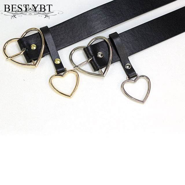 Best YBT Women belt Fashion PU Leather Metal Heart Pin Buckle belt Party Dress Decor Waistband Women belt size 105 cm 5