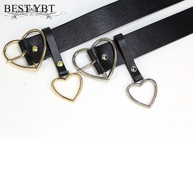 Best YBT Women Belt Fashion PU Leather Metal Heart Pin Buckle Belt