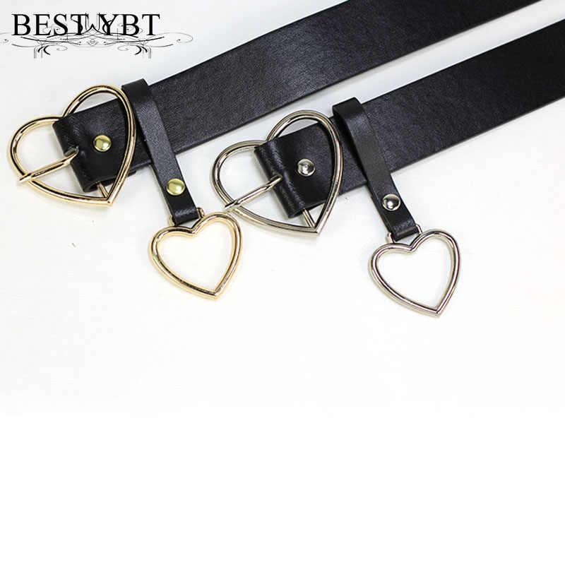 Лучший YBT Модный женский ремень из искусственной кожи с металлической пряжкой в форме сердца, вечерние, декоративный пояс, женский ремень, размер 105 см