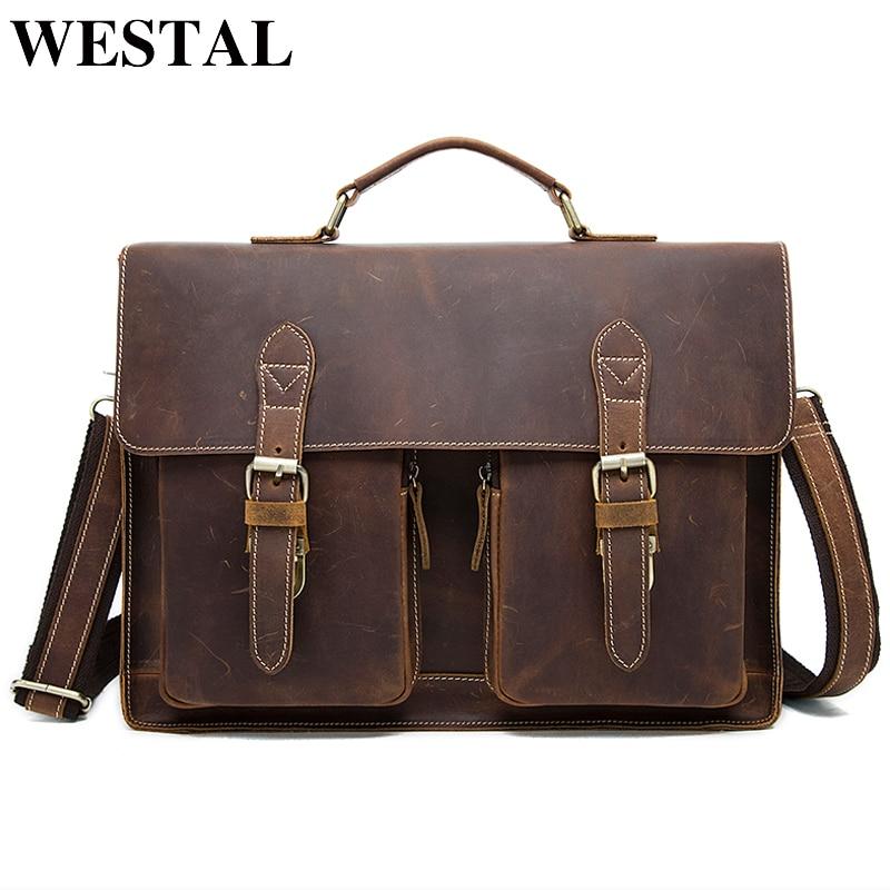 WESTAL Genuine Leather Laptop Bag For Men's Briefcase Tote Men Messenger Bag Travel Laptop Bag For Documents Computer Bag 9033
