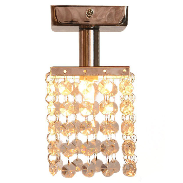 1 Light Mini Semi Flush Mount Crystal Pendant Chandeliers With Solid Fixture In Chrome Finish For