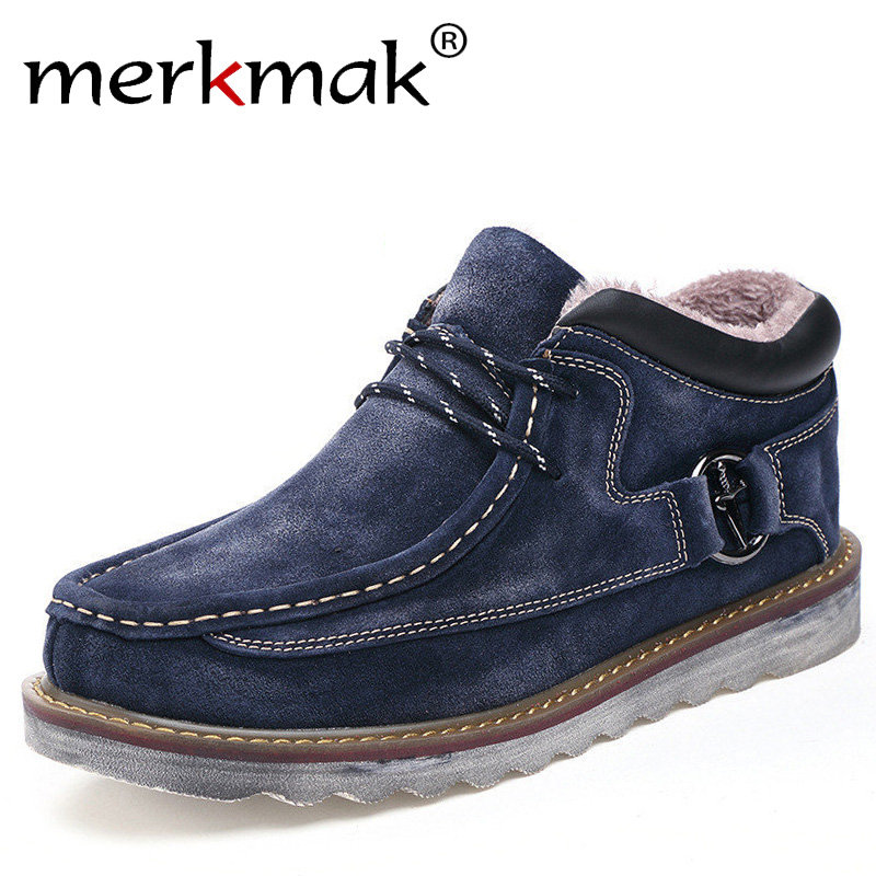 Merkmak Autumn Winter Genuine Leather Casual Men Shoes Snow Warm Velvet Vintage Classic Male Ankle Boots Thick Sole Footwear