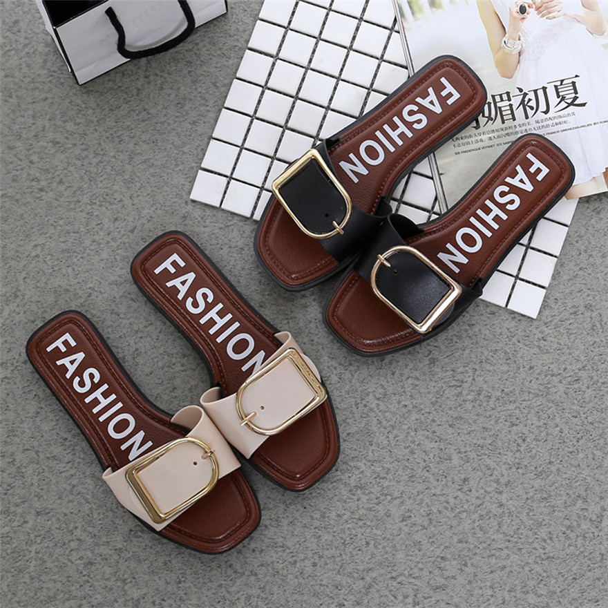 Fashion Women Summer Flat Heel Square Buckle Sandals Leisure Slipper Small Fresh Casual Shoes Sandales Femme 2018 zapatos mujer xiaying smile summer woman sandals fashion women pumps square cover heel buckle strap fashion casual concise student women shoes