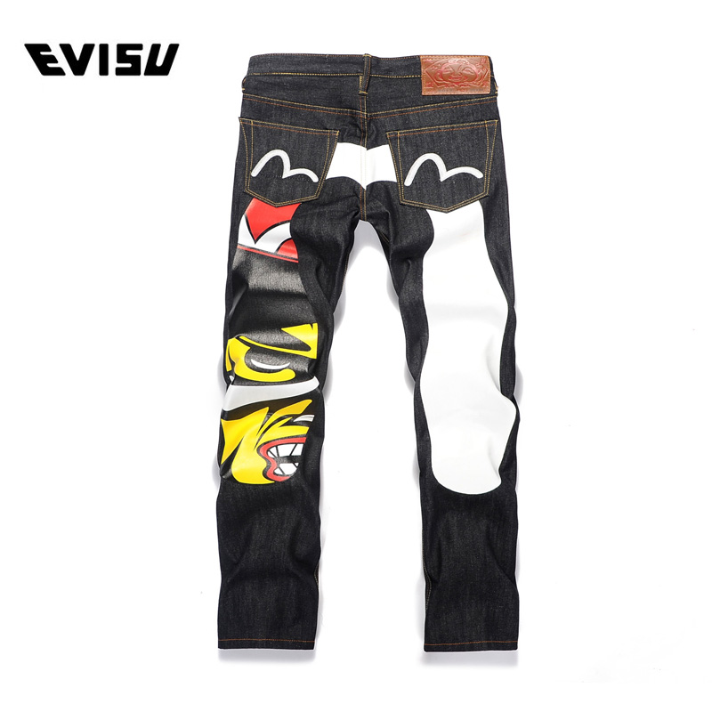 Evisu 2018 Men hipster jeans Casual Fashion Trousers Hip-hop Men Pockets Jeans Straight Long Classic Black Jeans For Men 6202