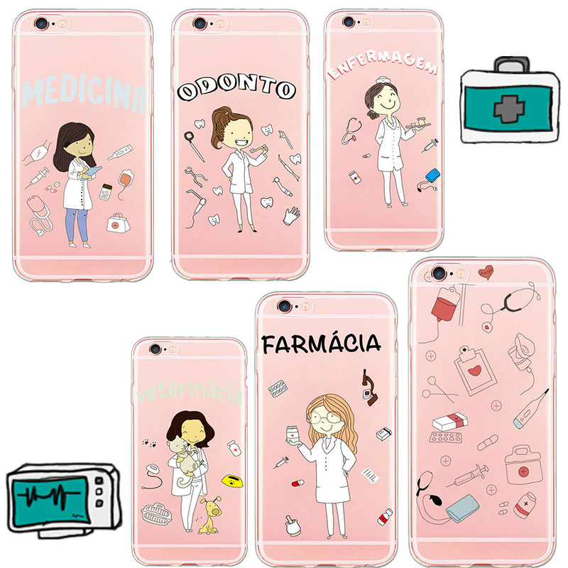 Galleria fotografica Mag Fond For iPhone 8 X Cute Doctor Nurse Medical Case for iPhone 6 6s 6Plus 5 5s se 7plus Cover Soft TPU Cell Phone Cases Coque