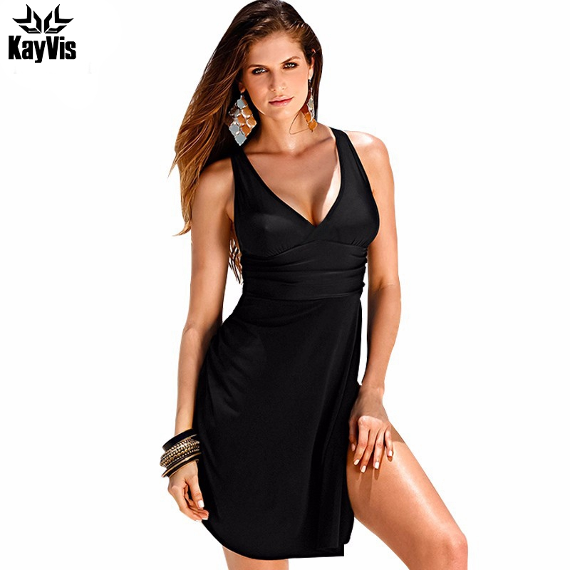 KayVis 2018 Plus Size Swimwear One Piece Swimsuit Women Summer Beach Vintage Retro High Waist Bathing Suit Dress Beachwear Black