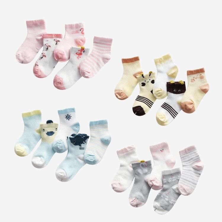 5 Pairs/lot Baby Girl Cartoon Socks Newborn Toddler Swan Cotton Sock Cute Infant Boy Mesh Sock Baby Clothes Accessories