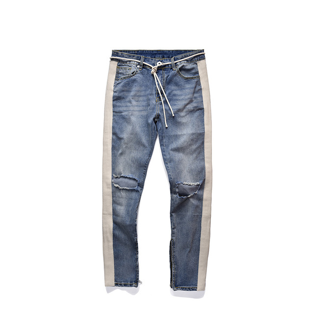 Plegie 2019 New Pants Men Skinny   Jeans   Men Streetwear Ripped   Jeans   For Man Fitted Bottoms Zipper HipHop   Jeans   Homme Denim
