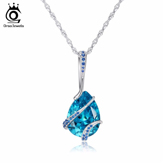 ORSA JEWELS Women Pendant And Necklace Water Drop AAA Big Cubic Zircon Women Trendy Fashion Party Christmas Gifts ON130