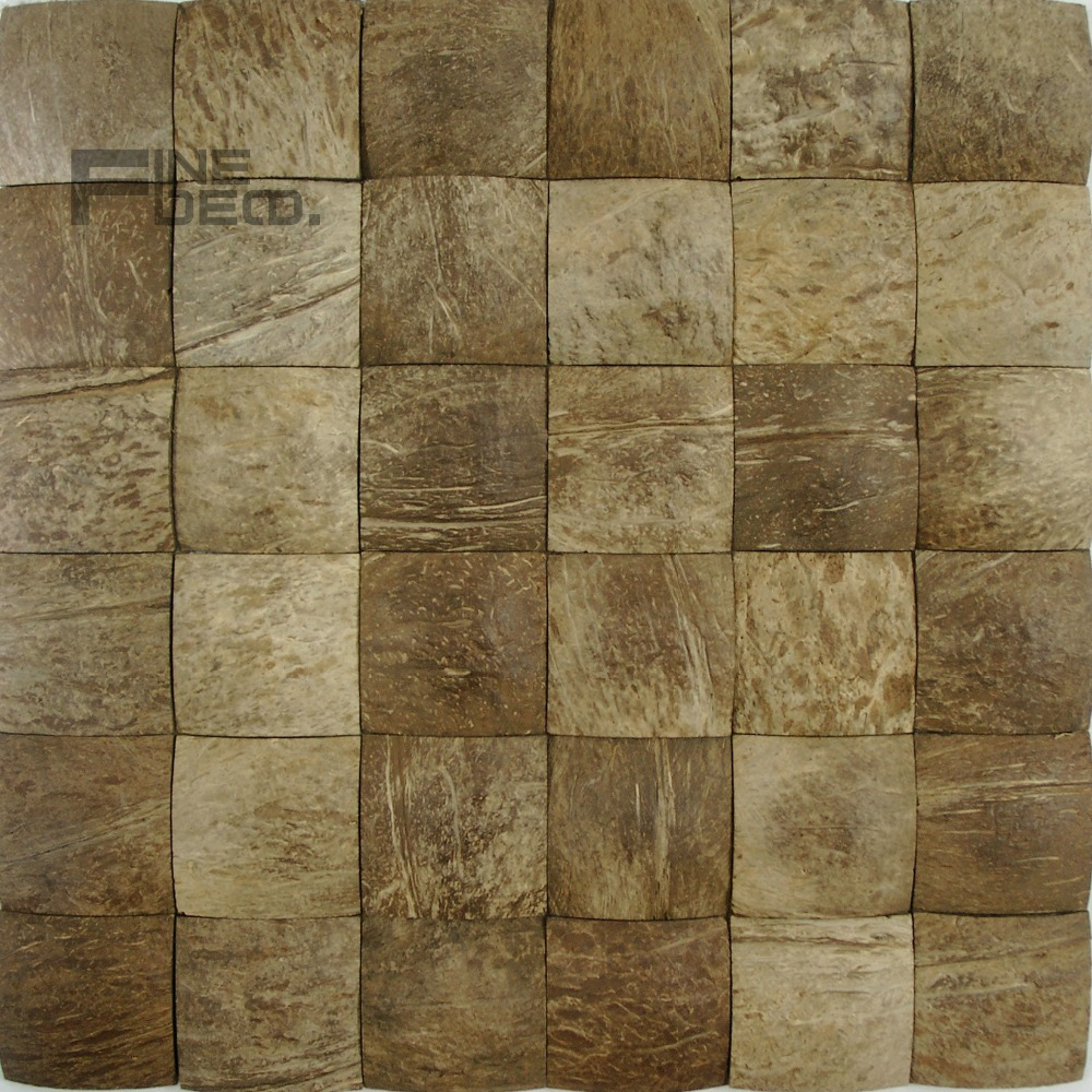 Wall tile buy cheap stone wall tile lots from china stone wall tile - Coconut Shell Mosaic Tile For Wall Decoration