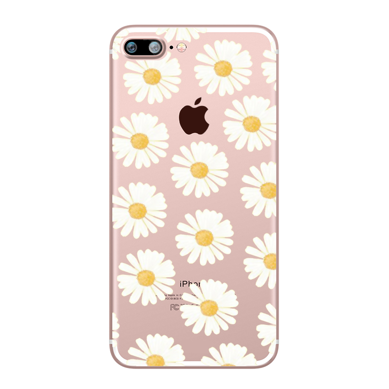 Flower Love Cherry Blossoms Rose Flowers for iphone 7 6 X 6S 8 PLUS SE 5S 7plus Silicon Clear TPU Transparent Capinha Case Funda (8)