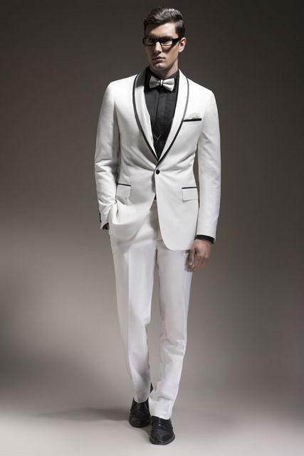 Wedding Tuxedos Mens White Tuxedo Dinner Jacket Suit Shawl Collar