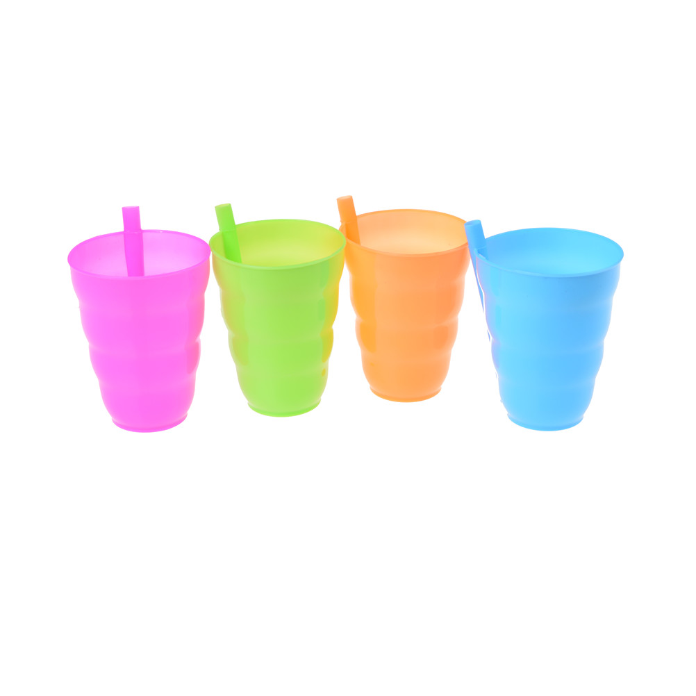 4pcs/lot  Kids Children Infant Baby Sip Cup With Built In Straw Mug Drink Home Colors
