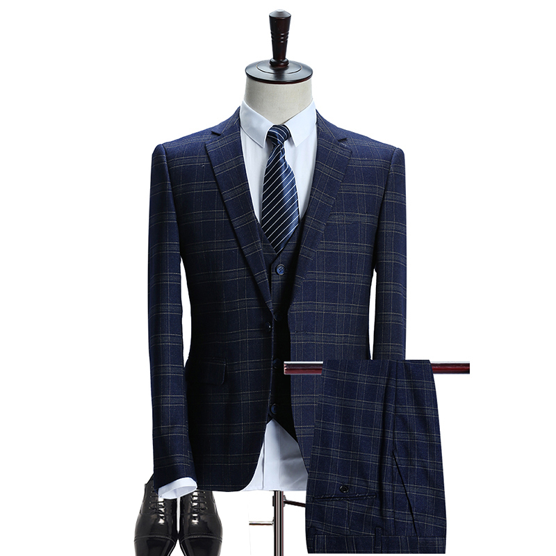 Mens Plaid Go well with 2018 Slim Match Wedding ceremony Fits Males Excessive High quality Enterprise Formal Fits three Piece Jacket Pants Vest (Jacket+Vest+Pants)
