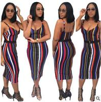 2017 Summer Ladies Sexy Bodycon Party Dresses Rainbow Striped Printed Backless Pencil Dress Slim Casual Bandage