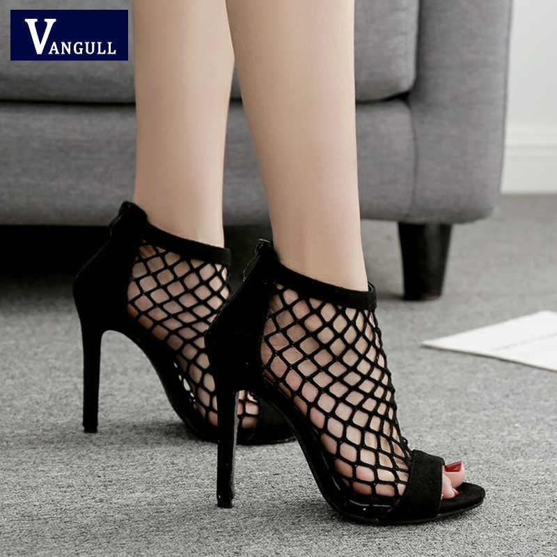 VANGULL Fishnet Sandals Women Summer Mesh Shoes 2019 New Sexy High Heels  Peep Toe Zip Sexy dcf0bcbbd7a4