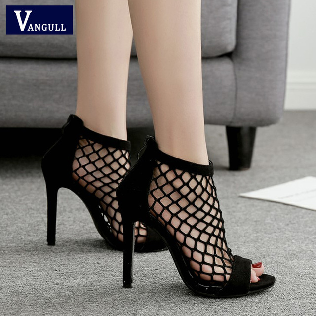 2b0a8a2c2781 VANGULL Fishnet Sandals Women Summer Mesh Shoes 2019 New Sexy High Heels  Peep Toe Zip Sexy. Mouse over to zoom in