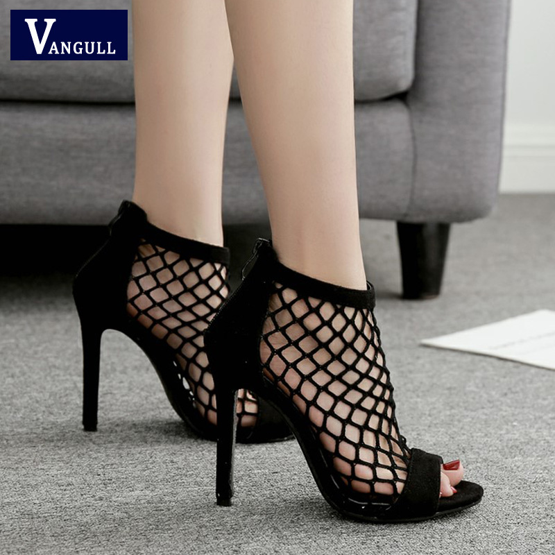 VANGULL Fishnet Sandals Women Summer Mesh Shoes 2019 New Sexy High Heels Peep Toe Zip Sexy Party Women Shoes Gladiator Sandal