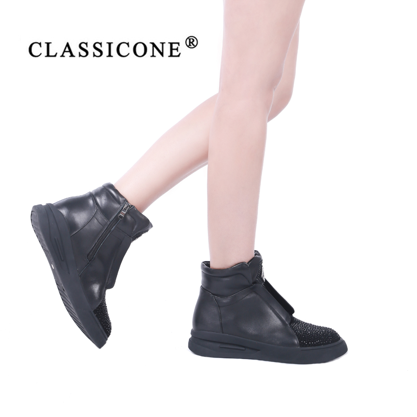 À Chaussures Femme Noir De Luxe La Main Cuir Appartements Bottes Cheville Designers Chaud Véritable 2018 Style Laine Classicone Marque Hiver Mode En 5EpwUnq