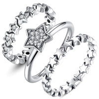 BISAER 2016 New Fashion Jewelry Ring Female Wedding Rings Band Party Wholesale Clear CZ 925 Sterling