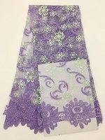 Orange Lilac African Lace Fabrics Fushia Green Yellow Blue Nigerian French Lace Fabric, 2017 High Quality Beaded Tulle Fabric